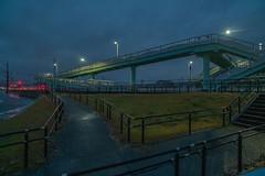 School route. (Yasuyuki Oomagari) Tags: bridge footbridge artificial elementaryschool bike countryside schoolroute night nightshot blue nikon d850 zeiss distagont2821 rain rainy japan landscape kyushu fukuoka 日本 九州 福岡県 夜景 雨 風景写真