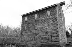 Not Just Any Old Barn (aaron_gould) Tags: outside sky clouds park trees bw blackandwhite monochrome nikkor barn building mill old d7000 oldandbeautiful