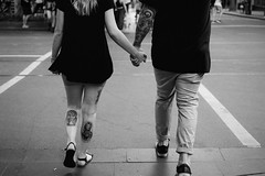 Joined (McLovin 2.0) Tags: street people candid couple hands tattoo urban city crossing melbourne sony a7s 55mm zeiss bokeh