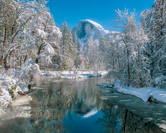 Winter Escape (pixelmama) Tags: 2019 california february findyourpark goparks halfdome mercedriver nps nationalpark pixelmama reflections snow snowscape winter yosemite yosemiteconservancy yosemitenationalpark