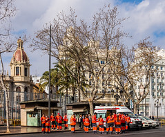 On Duty for the Parade (Plaza Ayuntamiento - Valencia) (Olympus OM-D EM5-II & M.Zuiko 17mm f1.2 Pro Prime) (1 of 1) (markdbaynham) Tags: people valencia olympus group plaza 17mm prime primelens fixedlens olympusm43 m43 m43rd f12 mzd zd mz mzuiko zuikolic plazaayuntamiento city urban metroplis street spain espana espanol grouppeople em5 em5ii em5mk2 mft