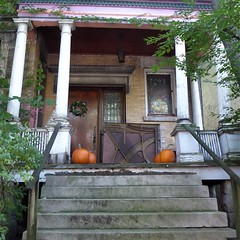 Chicago, Buena Park Neighborhood, House Porch (Mary Warren 12.8+ Million Views) Tags: chicago buenapark neighborhood urban house residence stairs porch columns halloween pumpkins door wreath