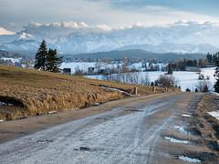 Road to Tatry (seen from Rusiński Wierch, near Bukowina Tatrzańska), southern Poland (msadurski) Tags: podhale tatry mountains panasonic road snow skiing winter ski lumix 35100 gm5