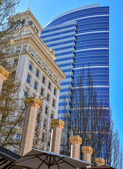 Old building. New building. (maytag97) Tags: portlanddowntown maytag97 nikon d750 city modern old glass tower blue ornate office portland oregon pattern geometric curve curved