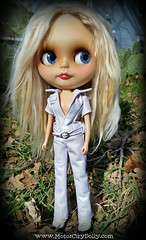 Holly (Motor City Dolly) Tags: blonde alpaca reroot blythe doll custom customized white jumpsuit leather