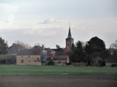 Village of La Bruyère from the railway near Namur, Belgium (Paul McClure DC) Tags: belgium belgique wallonie wallonia feb2018 scenery historic architecture church labruyère namur namen