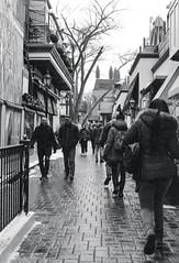 Crowded Yorkville Alley (Bill Smith1) Tags: believeinfilm billsmithsphotography canonnewf1 fdn50f14lens hc110b heyfsc kodaktrix4001600 toronto