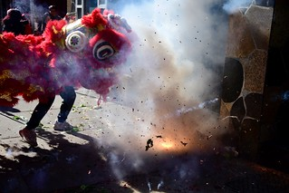 Lion Dance and firecrackers