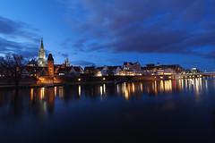 Danube mirror (guenther_haas) Tags: ulm danube donau donauufer ufer reflexion spiegelung nacht nachtaufnahme langzeitbelichtung ulmermünster münster ulmminster minster blue blau himmel wolken sky clouds olympus omd em5 mzuiko 714mm f28 128 metzgerturm stadtmauer weitwinkel panorama