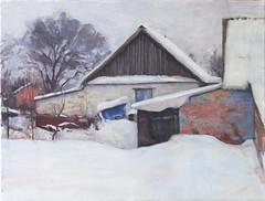 Neighbors (Bohdan Tymo) Tags: oil painting winter snow house white gray