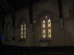 Two Non-Figurative Stained Glass Windows by Ferguson and Urie and the Samuel Lyons McKenzie Memorial Window by Brooks Robinson and Company along the Southern Aisle of the Former Saint George's Presbyterian Church - Chapel Street, St Kilda East (raaen99) Tags: fergusonandurie fergusonanduriestainedglass fergusonurie fergusonuriestainedglass floral flower blue red green yellow glass victorianstainedglass quarryglass leadlight leadlightglass diaperpattern pattern nineteenthcenturystainedglass 1880 1880s floralpattern saintgeorgespresbyterianchurch saintgeorgesunitingchurch saintgeorgeschurch saintgeorgesstkildaeast saintgeorgeseaststkilda stgeorgespresbyterianchurch stgeorgesunitingchurch stgeorgeschurch stgeorgesstkildaeast stgeorgeseaststkilda unitingchurch presbyterianchurch presbyterian eaststkilda stkildaeast chapelstreet chapelst church placeofworship religion religiousbuilding religious melbourne nineteenthcentury victorian victoriana 19thcentury victoria australia gothicrevivalarchitecture gothicarchitecture gothicrevivalchurch gothicchurch gothicbuilding gothicrevivalbuilding ecclesiastical gothicrevivalstyle gothicstyle architecturallydesigned albertpurchas architecture building window stainedglass stainedglasswindow lancet lancetwindow star starpattern detail