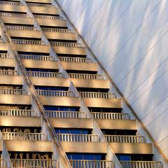 hyatt gold (repost) (msdonnalee) Tags: hyatt embarcadero balcony shadow architecture architecturaldetail architektur arquitectura diagonal