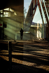 Privat Eye (Pensiero) Tags: man uomo walking silhouette rays raggi sunrays sole olympiahalle olympiapark reflection riflesso shadows lights luci ombre