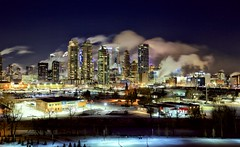 Calgary cold night downtown (John Andersen (JPAndersen images)) Tags: bridge calgary canon cityskyline cold elbowriver frost nighttime polarvortex steam trees urban