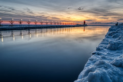 South Haven Lighthouse #11 (tquist24) Tags: hdr lakemichigan michigan nikon nikond5300 outdoor people southhaven southhavenlighthouse catwalk clouds cold evening frozen geotagged ice lake lighthouse longexposure outside pier reflection reflections seascape sky sunset water winter
