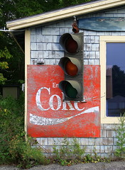 Coke stop: The Love Barn, Orland, Maine (Spencer Means) Tags: sign shop lovebarn store coke stop traffic light orland maine usa shingle window