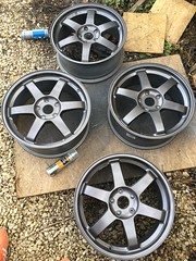 Satin Lacquer (lotus-gt) Tags: volk racing rays alloys wheels alloy rims felgen velgen te37 refurb refurbishment anthracite grey repair honda civic forged light lightweight 5x1143 et48 18 jdm japan blog diy