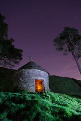 Shrine to Dolores (FadeToBlackLP) Tags: lightpainting lightart stjosephsshrine goytvalley peakdistrict shrine religious stars sky opendoor hillside countryside cross nightsky nightphotography