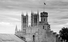 Lincoln Castle & Cathedral (damhphotography) Tags: bw blackandwhite monochrome castle lincoln gaol history outside sky cathedral