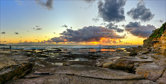 More than the eye can see (JustAddVignette) Tags: australia clouds cloudysunrise dawn deewhy flamingsky headland landscapes newsouthwales northernbeaches ocean orange panorama reflections risingtide rocks seascape seawater sky sunrise swell sydney water waves