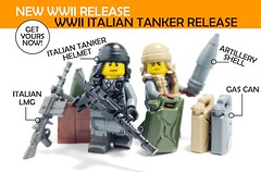 WWII Italian Tanker Release! (BrickWarriors - Ryan) Tags: custom lego gun guns helmet helmets weapons weapon war ww2 wwii army armor accessories brick minifigure minifig