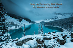 Early start at Moraine Lake D85_5039-Text.jpg (Mobile Lynn) Tags: water rock snow moody landscape lake mountain forest landscapephotography outdoorphotography improvementdistrictno09 alberta canada ca