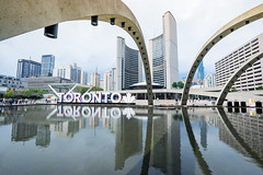 Toronto - Canada (BartBucko) Tags: toronto canada summer gloomy day downtown main center water sign color architecture arch reflection government nathan phillips square city hall