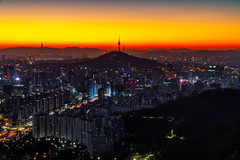 Sunrise scene of Seoul downtown city skyline (MongkolChuewong) Tags: aerial aerialview ansan architecture asia asian attraction building business cable car city cityscape destination district downtown famous financial fortress hiking hill inwangsan korea korean landmark landscape lotte metropolis mountain n namsan night office panorama park place point seoul sky skyline south sunrise sunset tower town travel trekking urban view wall