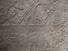 UK - London - Bloomsbury - British Museum - Relief from north palace at Ninevah of Assyrian soldiers capturing an Egyptian town (JulesFoto) Tags: uk england london britishmuseum assyria sculpture