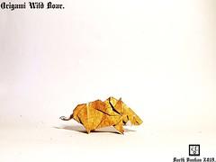 Origami Wild Boar - Barth Dunkan. (Magic Fingaz) Tags: barthdunkan ecorigami origami origamiwildboar paperart paperfolding sanglier wildboar wildschwein หมูป่า 야생멧돼지 イノシシ 野豬 pig origamipig