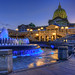 PA State Capitol & blue water fountain