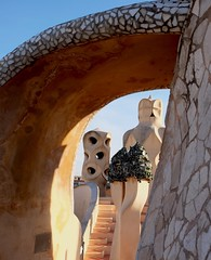 La Pedrera (Douguerreotype) Tags: barcelona catalunya buildings roof spain stairs arch city gaudi chimney urban architecture steps