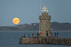 Castle Emplacement (paul mariess) Tags: moon moonrise sky pier lighthouse twilight fishing guernsey fullmoon evening night fine clear