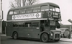 Dec 1957 -  RM2 -  Prototype AEC/Park Royal Routemaster, route 91 at Hounslow West.  (off side view) (RTW501) Tags: routemaster prototype rm2 slt57 aec parkroyal redlivery route91 hounslowwest
