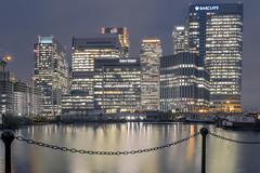 Canary Wharf at night (Amer Ramzan) Tags: london eastlondon canarywharf docklands longexposure fujixt1 xf1855mm284 cityscape nightphotography night barclays water reflections