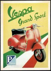 Vespa Grand Sport (tico_manudo) Tags: advertisingpostcard vintagepostcards tarjetaspostalesvintage vespa advertisingpostcards