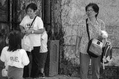 All Eyes (Beegee49) Tags: street women children filipina eye contact curious black white monochrome bw luminar sony a6000 planet happy bacolod city philippines asia