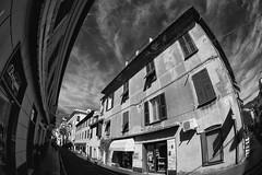 liguria levanto (michael_obst) Tags: levanto liguria bellaitalia zenitar zenitarlens zenitar16mm fisheye street buildingfront bnw monochrome
