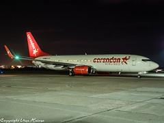 Corendon Airlines TC-TJG HAJ at Night (U. Heinze) Tags: aircraft airlines airways airplane planespotting plane haj hannoverlangenhagenairporthaj eddv olympus night flugzeug