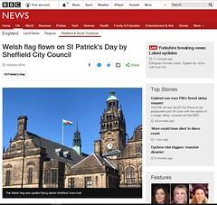 BBC News: Welsh Flag on St Patrick's Day, Sheffield Town Hall 2019 (Dave_Johnson) Tags: bbcnews bbc news website photo photograph published welshflag flag welshdragon welsh wales stpatricksday stdavidsday saintpatrick stpatrick townhall sheffieldtownhall peacegardens mistake blunder sheffield southyorkshire yorkshire
