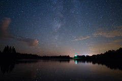 Starry Dam (Northern Wolf Photography) Tags: 12mm astronomy astrophotography clouds dam em5 firstconnecticutlake lake light longexposure night olympus reflection sky stars tower trees water pittsburg newhampshire unitedstatesofamerica us