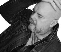 Mono Me. . . (CWhatPhotos) Tags: cwhatphotos camera photographs photograph pics pictures pic picture image images foto fotos photography artistic that have which contain flickr olympus pen ep5 self selfie portrait me this art bw mono black white man male he beard goatee pose poser levi denim jacket