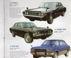 """Seoul Korea vintage automotive book featuring retro rides, including the Shinjin New Crown S - """"That 70s Look"""" (moreska) Tags: seoul korea vintage korean vehicle car carro automobile voiture shinjin 1971 new crown s oldschool 1970s super salon grill mirrors domestic asia branding seventies transportation luxuryitem consumerism history collectibles kumho tire keepsake archive museum rok"""