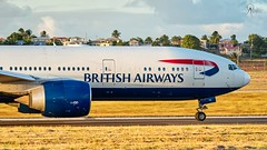 British Airways | G-VIIW | Boeing 777-236ER | BGI (Terris Scott Photography) Tags: aircraft airplane aviation plane spotting nikon d750 tamron 70200mm f28di vc usd g2 travel barbados jet jetliner british airways 777 200 london grass panning