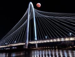 Rising Blood Moon (patphotophactory) Tags: bridge overpass street light cityscape city night architecture urban sky water river long exposure mofbridge moon blood moonsf full moonon