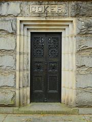 Coker (davidwilliamreed) Tags: coker mausoleum door tomb grave cemetery metal oaklandcemetery atlantaga fultoncounty stone
