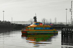 A big yellow taxi...took my girl away (SevenOneSeven Studio) Tags: redhookbrooklyn brooklyn creativephotographypainting artistryphotography photographypainting artisticphotography colorselection colorpop colorsplash eriebasinpark harbor waterfront watertaxi