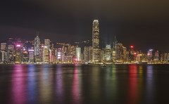 Bright lights, big city (Wizard CG) Tags: tsim sha tsui hong kong china asia victoria harbour copy space olympus red junk boat wooden ferry sail travel tourism city cityscape skyline skyscrapers night epl7 sea sky water people building