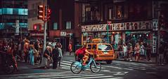 Don`t Walk (Gordon McCallum) Tags: nyc newyork newyorkstreetscene cyclist bicycle shoppers shops shopfront crossing broadway w50st sony sonya6000