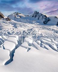 Cravasses show the way to the top (SebLC) Tags: newzealand zealand cravasses mountain mountains snow winter aerial pinksky landscape heliski glacier